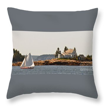 sailing by Mark Island lighthouse Throw Pillow