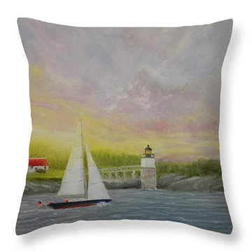 Sailing By Ram Island Throw Pillow