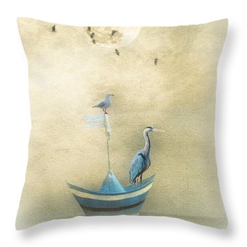 Sailing By The Moon Throw Pillow