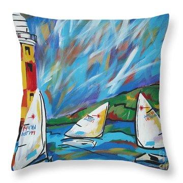 Sailing Throw Pillow by Caroline Davis