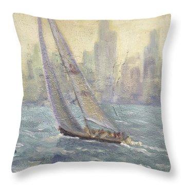 Sailing Chicago Throw Pillow