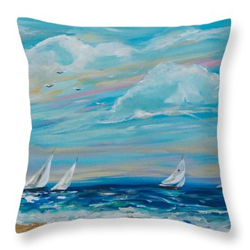 Sailing Close To The Shore Throw Pillow