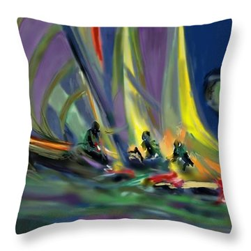 Sailing Throw Pillow by Darren Cannell