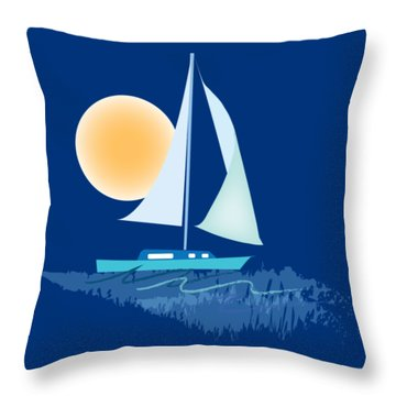Throw Pillow featuring the digital art Sailing Day by Gina Harrison
