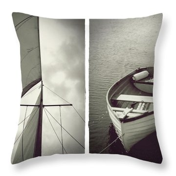 Sailing Diptych Throw Pillow
