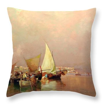 Sailing Fishermen Boats In Naples Throw Pillow