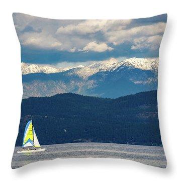 Sailing Flathead Lake Throw Pillow