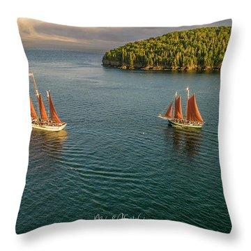 Sailing Frenchman Bay Throw Pillow