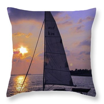 Sailing Home Sunset In Key West Throw Pillow