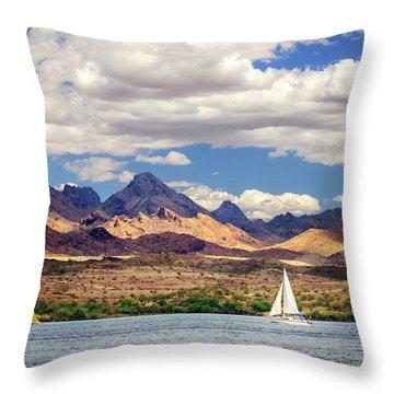 Sailing In Havasu Throw Pillow