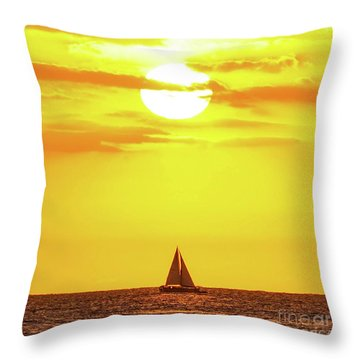 Sailing In Hawaiian Sunshine Throw Pillow