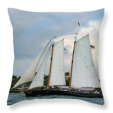 Throw Pillow featuring the photograph Sailing In Key West At Dusk by Bob Slitzan