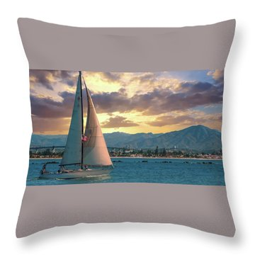 Sailing In San Diego Throw Pillow
