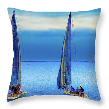 Sailing In The Blue Throw Pillow by Joseph Hollingsworth
