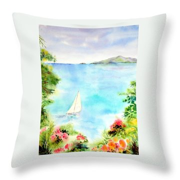 Sailing In The Caribbean Throw Pillow