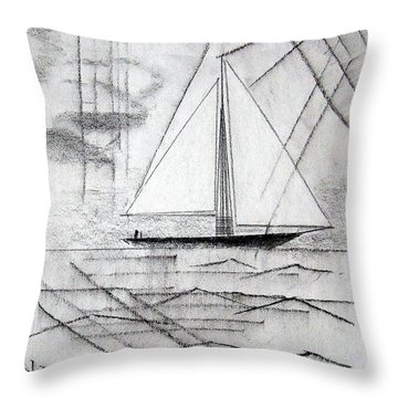 Sailing In The City Harbor Throw Pillow by J R Seymour