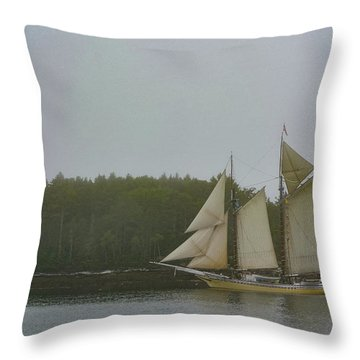 Sailing In The Mist Throw Pillow