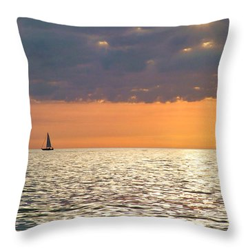 Sailing In The Sun Throw Pillow