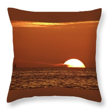 Sailing In The Sunset Throw Pillow