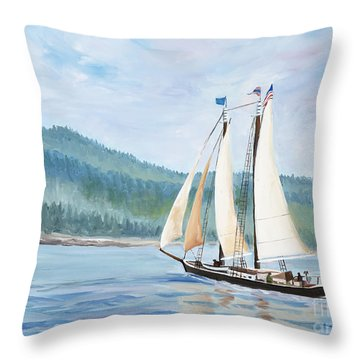 Sailing Into Castine Harbor Throw Pillow