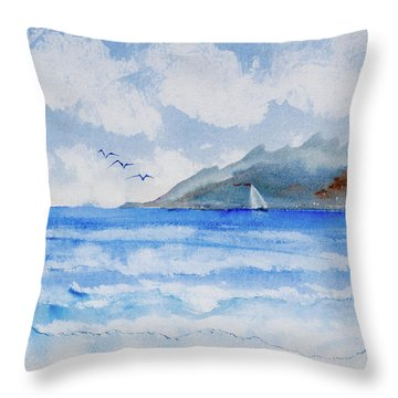 Sailing Into Moorea Throw Pillow