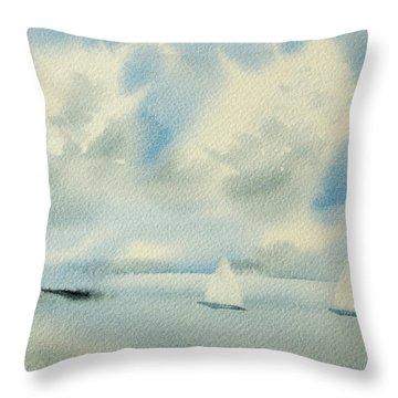 Sailing Into A Calm Anchorage Throw Pillow