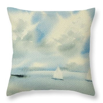 Sailing Into A Calm Anchorage Throw Pillow
