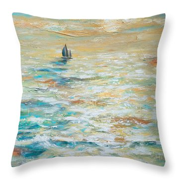 Sailing Into The Sunset Throw Pillow by Linda Olsen