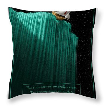 Sailing Off The Edge Of The World Throw Pillow