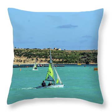 Sailing On A Sunny Day Throw Pillow by Stephan Grixti