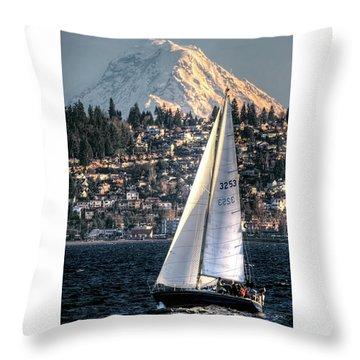Sailing On Elliot Bay, Seattle, Wa Throw Pillow