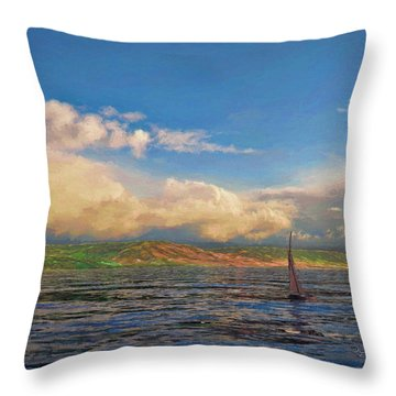 Sailing On Galilee Throw Pillow by Dave Luebbert