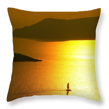Throw Pillow featuring the photograph Sailing On Gold 1 by Ana Maria Edulescu