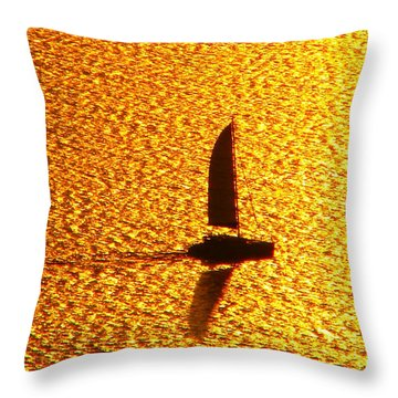 Throw Pillow featuring the photograph Sailing On Gold by Ana Maria Edulescu