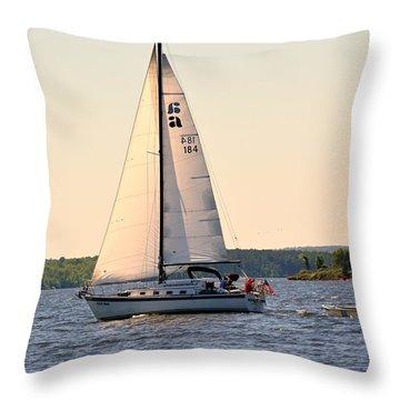 Sailing On Lake Murray Sc Throw Pillow