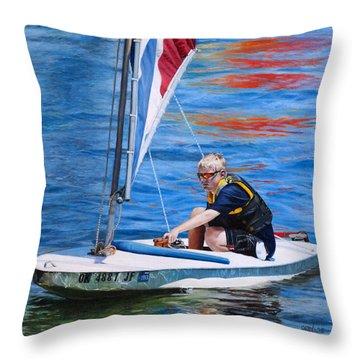 Sailing On Lake Thunderbird Throw Pillow