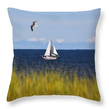Sailing On Long Beach Island Throw Pillow
