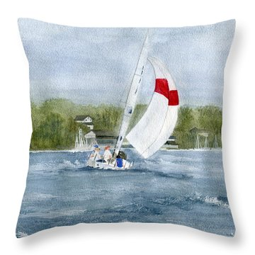 Throw Pillow featuring the painting Sailing On Niagara River by Melly Terpening
