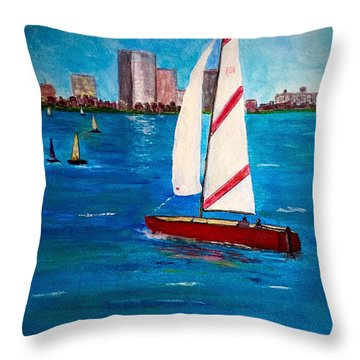 Sailing On The Charles Throw Pillow