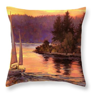 Sailing On The Sound Throw Pillow