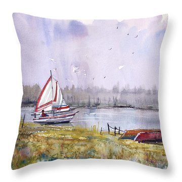 Sailing On White Sand Lake Throw Pillow by Ryan Radke