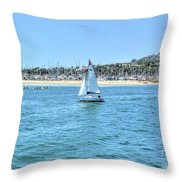 Sailing Out Of The Harbor Throw Pillow