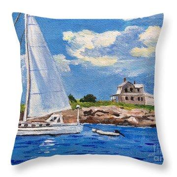 Sailing Past Wood Island Lighthouse Throw Pillow