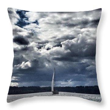 Sailing Puget Sound Throw Pillow