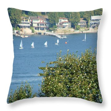 Sailing Throw Pillow by Rod Jellison