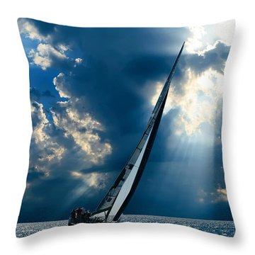 Sailing Ship . The Sea Hates A Coward.  Throw Pillow