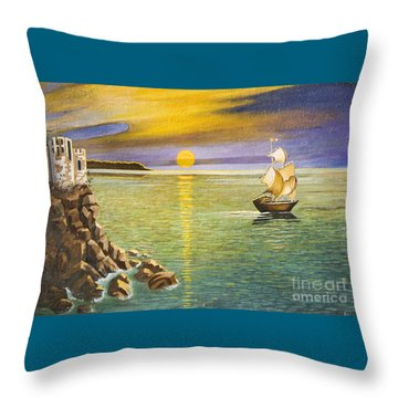 Sailing Ship And Castle Throw Pillow