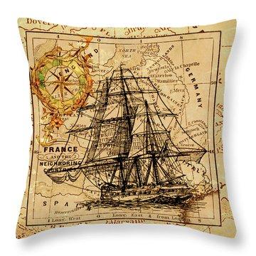 Sailing Ship Map Throw Pillow