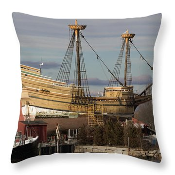 Sailing Ship Repairs Throw Pillow
