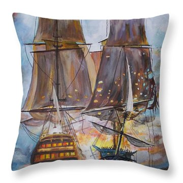 Sailing Ships At War. Throw Pillow